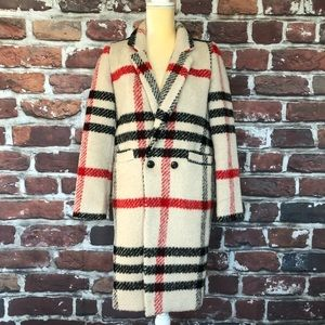 Storets Wool Plaid Trench Coat Cream Black And Red